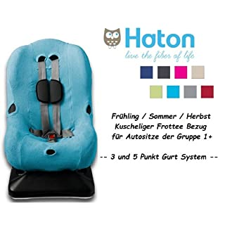 HATON ** Soft and Cosy Cover ** Spring / Summer / Autumn -- 3 AND 5 point harness system - Universal Replacement Cover for car seat size 1 like Maxi-Cosi Priori / SPS / XP, Römer King Plus / TS / Duo etc. ** TURQOUISE / AQUA **