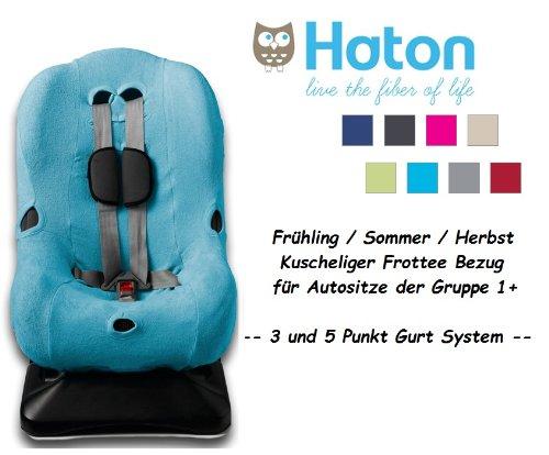 HATON -- FROTTEE Ersatzbezug -- Frühling / Sommer / Herbst -- 3 UND 5 Punkt Gurt System -- Universal Ersatz-Bezug für Autokindersitz Größe 1 z.B. für Maxi-Cosi Priori / SPS / XP, Römer King Plus / TS / Duo etc. -- TÜRKIS --