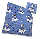 Kinder Baby Bettwäsche Baumwolle 2 teilig 100x135 cm 40x60 cm Reißverschluss Bär auf Wolke