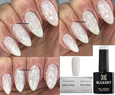 Bluesky White Diamond White With Multi White and Silver Glitter Nail Gel Polish UV LED Soak Off 10ml PLUS 2 Homebeautyforyou Shine Wipes