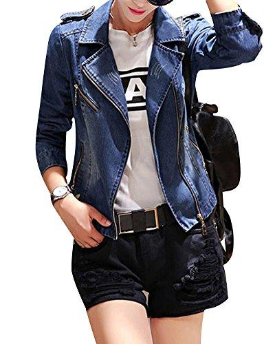 Mujer Casual Loose Punk Chaqueta Denim Pantalones Vaqueros Estilo Abrigo Azul M