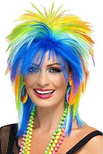 Ladies 1980 s Fancy Dress Party Rainbow Punk Wig Multi-coloured Clubwear