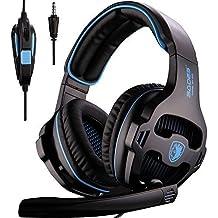 SADES SA810nuevo actualizado 3,5mm sonido estéreo PC auriculares para juegos multiplataforma, Over-Ear Auriculares para juegos con micrófono para Xbox One/PS4/PC portátil/Mac/iPad/iPod (negro y azul)