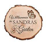 Casa Vivente Baumscheibe mit Gravur – Garten – Personalisiert mit Namen – Ideal als Türschild, Wandschild, Dekoration, Geburtstagsgeschenk - Geschenkideen für Männer und Frauen
