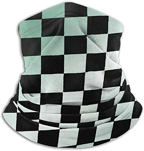 Qinckon Abstract Black and White Squares Pattern Fleece Neck Warmer Heat Trapping Sun-Proof Neck Gaiter Tube Soft Elastic Balaclava -