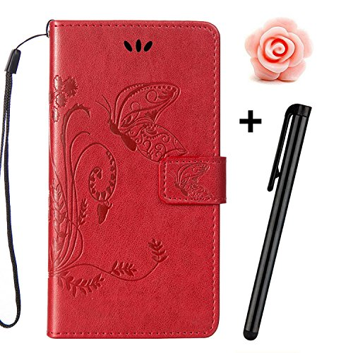 Custodia iPhone 7, Custodia iPhone 7S a portafoglio, prodotto TOYYM di alta qualità, decorazione con Fiori/Animali/ Personaggi, in ecopelle [chiusura magnetica] con Slot per carte per Iphone Apple 7 p Red
