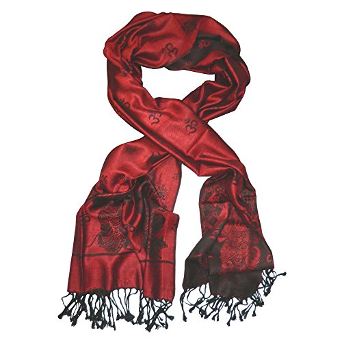 Schal Himalaya Ganesha rot schwarz Viskose Tuch Stola Halstuch Accessoire