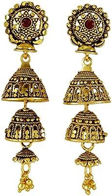 Banithani dorado tradicional indio nuevo dangle jhumki pendiente conjunto a mujeres joyas de boda