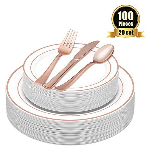 TOROTON 100 Stück Einweg Speiseteller aus Plastik mit Plastikbesteck-Set, Plastikgeschirr-Set beinhaltet: 20 x Teller, Dessertteller, Gabeln, Messer, Löffel - Rose Gold -