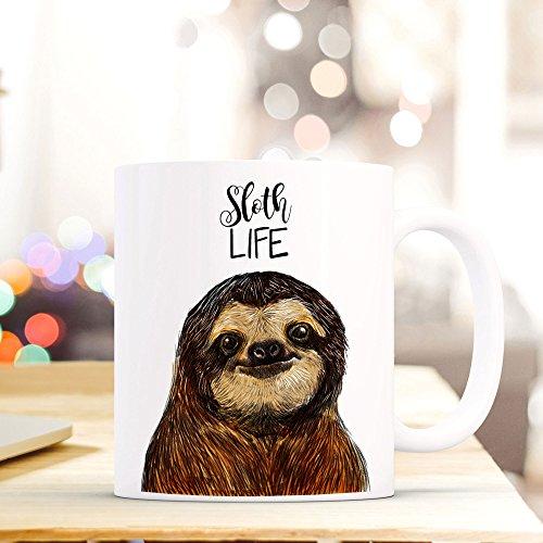 ilka parey wandtattoo-welt® Tasse Becher Kaffeetasse Kaffeebecher Faultiertasse Faultier mit Spruch Sprichwort Zitat sloth life ts409