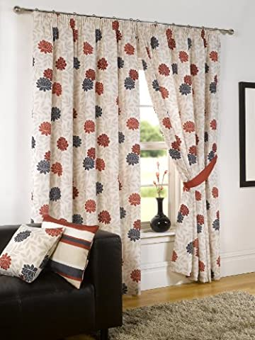 Modern Bella Floral Print Fully Lined Pencil Pleat Readymade Curtains, Natural / Red / Black - 46