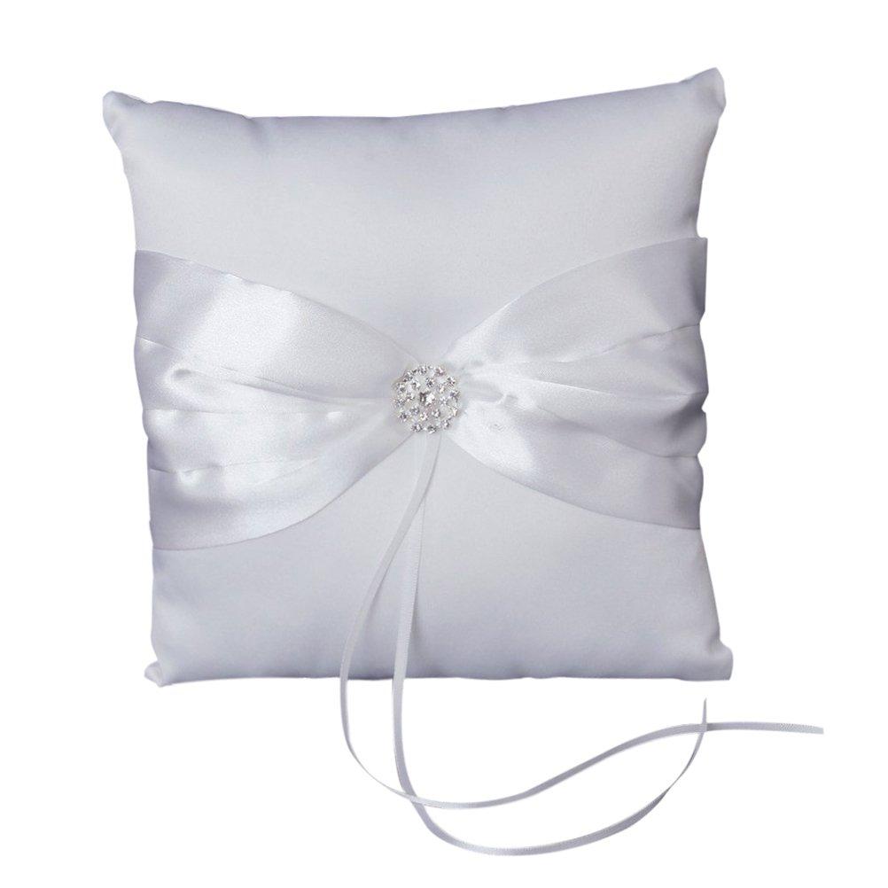 Pixnor Strass Anello Nuziale Cuscino Portatore Con Nastro Di Raso 10�* 10�cm, colore: bianco