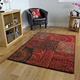 Tapis Traditionnel Rouge, Marron & Gris - 7 Tailles Disponibles...