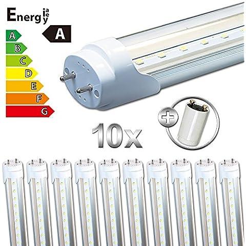 LEDVero T8/G13 SMD-LED tubo trasparente 120 cm Bianco caldo, bianco freddo, colore bianco, Bianco neutro, 10 pezzi 18.0|watts