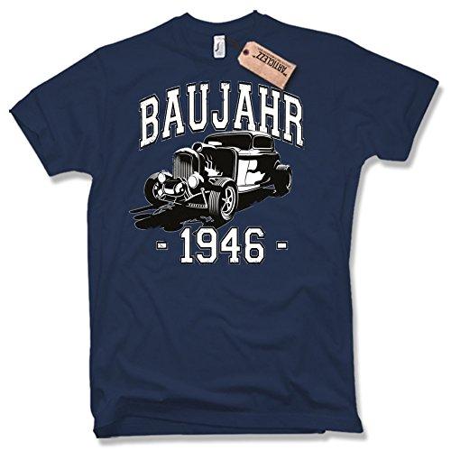 BAUJAHR 1946, Hot Rod, 70. Geburtstag, verschiedene Farben, Gr. S - XXL dunkelblau / navy