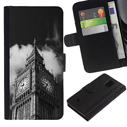 LeCase - Samsung Galaxy S5 Mini, SM-G800, NOT S5 REGULAR! - Architecture Big Ben Close Up London - U Cuoio Custodia Portafoglio Snello caso copertura Shell armatura Case Cover Wallet Credit Card