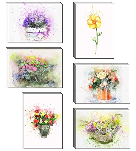 48 Blank Artistic Watercolour Flower Greeting Cards Made from Recycled Card