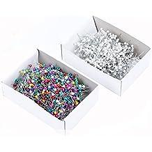 Colores mezclados costura pines decorativo pines caja de alfileres con cabeza de cristal (1x 800Count), color blanco