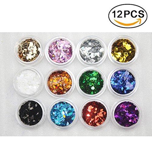 Boocy 12 BOX color purpurina polvo uñas arte Glitter