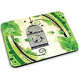 Gabbie per Uccelli 10009, Birdcage, Mouse Pad Tappetino per Mouse Mouse Mat con Disegno Colorato Antiscivolo in Gomma di Base Ideale per Giocare 250 x 190mm.