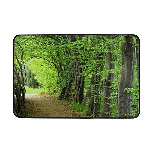 jstel Bäume Wälder Weg-Fußmatte waschbar Garten Büro Fußmatte, Küche ESS-Living Badezimmer Pet Eintrag Teppiche mit Rutschfeste Unterseite 59,9x 39,9cm