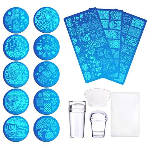Kit Stamping Nail Art 13pcs Stamping Unghie Nail Art 2pcs Raschietto+2pcs Stamper Per Manicure +1pcs Busta per Conservarli