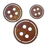 Metallmichl Edelrost 3 Teilige Knopfkette Girlande/Deko-Zubehör aus Rost Metall für Innen und Außen