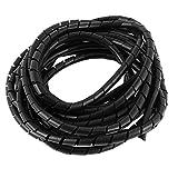 8mm Negro Flexible Espiral De Alambre Cobertura Cable Encamisado Tubo 6 Metros 6,1 M
