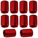 AERZETIX: 10x Tapas para valvulas rojo en aluminio para coche, moto, bicicleta, vehiculos C18530