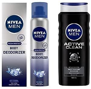 Nivea Men Body Deodorizer Ice Cool, Gas Free Deodorant 120ml & MEN Hair, Face & Body Wash, Active Clean Shower Gel, 500ml Combo