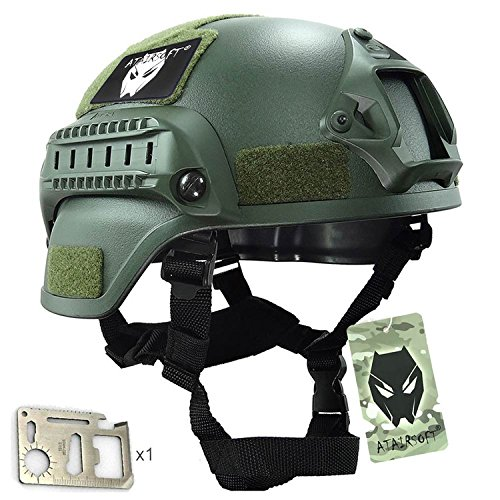 MICH 2000 combate casco protector con carril lateral y montaje NVG verde...