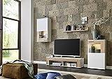 BMG Möbel Wohnwand Schrankwand Wohnzimmerschrank Mediawand Anbauwand TV-Element Tampa in weiß matt/Sonoma Eiche inkl. LED Beleuchtung Made in Germany Test