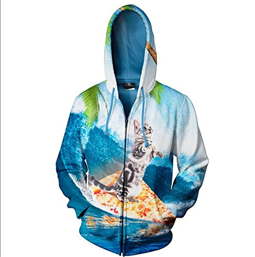 Mode 3D-lässiger Zipper Hoodies Lion Tier Muster Pullover Sweatshirts mit Hut lange Hülse Plus Size Himmel blau 5XL (Camo Size Plus Hoodie)