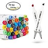Anicoll 40 Marker Pens verdoppelt spitzt Marker Stifte für Kunst Sketch Twin färbig Highlighters mit Tragetasche für Malerei Coloring Hervorhebungen und Unterstreichungen