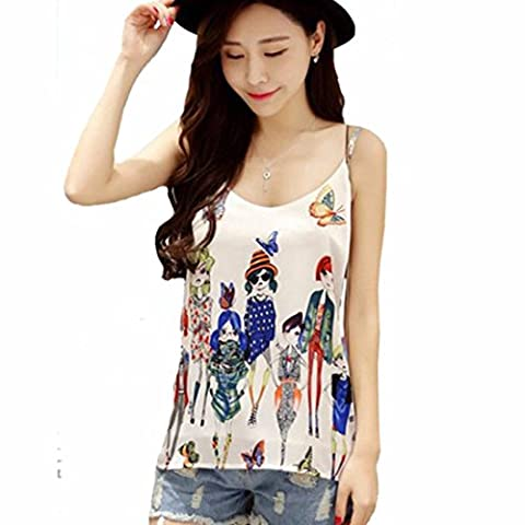 Women's Halter Double Layer Chiffon Printed Silk Camisoles & Tanks White / S