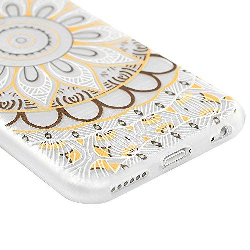 iPhone 6/iPhone 6S(4,7 pouces) Smartphone Coque de Protection - YOKIRIN Phone Case de TPU Souple Ultra Illustration en Couleur Côté Dépoli - Totem Rose Totem Brun