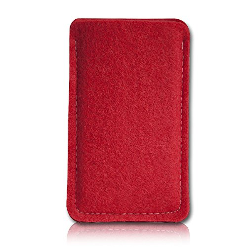 Filz Style Mobistel Cynus E4 Premium Filz Handy Tasche Hülle Etui passgenau für Mobistel Cynus E4 - Farbe rot