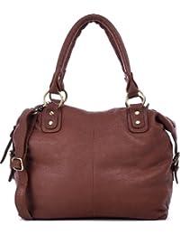 MASQUENADA, Cntmp, Damen Henkeltaschen Schultertaschen, Bolt-Bags, Handtaschen, Umhängetaschen, Soft Leder, 30x30x14cm (B x H x T)