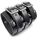 MunkiMix Alliage Genuine Leather Véritable Bracelet Bracelet Menotte Ton d'argent Noir Réglable Homme
