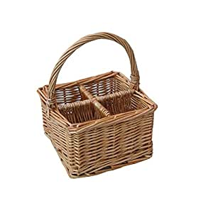 Honey High Quality Handled Wicker 4 Compartment Condiment Basket