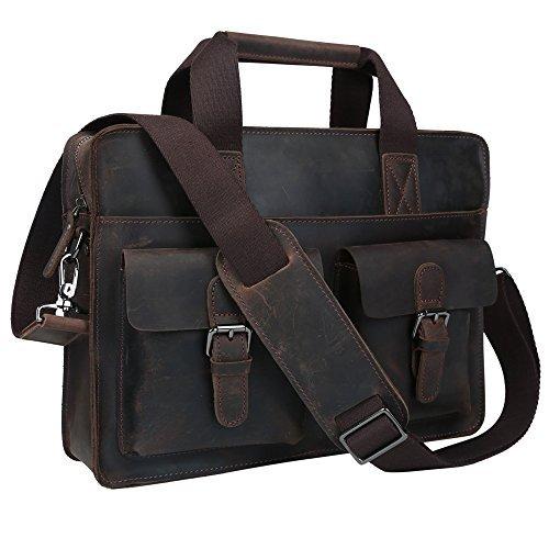 BAIGIO Herren Laptoptasche Businesstasche Leder Ledertasche Echt Leder Beruf Schultertasche Aktentasche Lehrertasche Unitasche Umhängetasche Groß Praktisch Tasche, dunkelbraun