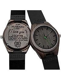 853d8b519a5f Grabado Reloj de Pulsera Sándalo Negro Relojes Madera Analógico de Cuarzo  para Hombre Correa de Cuero