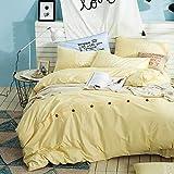 JSGJSJT Bettwäsche Amerikanischen Stil EinfacheBettbezug Set 100% Baumwolle Taste Design Königin Kissenbezug Bettdecken Einfarbig Bettwäsche-Sets, Königin Größe 4 Stücke 200x230 cm