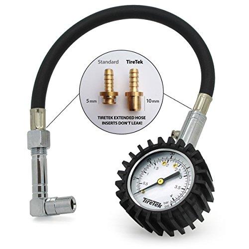 TireTek-Flexi-Pro-Misuratore-di-pressione-per-pneumatici-auto-e-moto-resistente-con-mandrini-dritti-e-ad-angolo-retto-60-psi