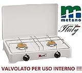 FORNELLO DA TAVOLO PARKER 2 FUOCHI ALIMENTAZIONE GAS METANO CON VALVOLE SICUREZZA PER USO INTERNO B/O
