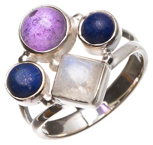 liche Mondstein und Amethyst Handgefertigt Boho 925Sterling Silber Ring, UK Größe P 1/2 (Pierre Silber Kostüme)