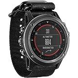 Malloom Correa de nylon de lujo 5 anillo reloj de reemplazo para Garmin Fenix 3 banda (negro)