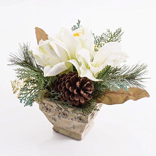 artplants - Künstliches Amaryllis-Arrangement im Keramiktopf, weiß, 25 cm - Weihnachts Deko/Kunst Ritterstern
