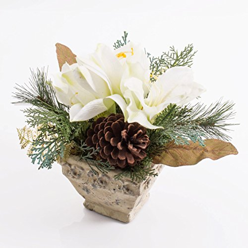 artplants Amaryllis-Arrangement im Keramiktopf, weiß, 25 cm – Kunstblume/Dekoblume