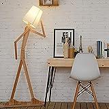 KKG® bois 1.6m originale Ffloor Lampe Standing Room Lumière Variété Modeling Caractère Shade Linen Blanc Moderne Cool for Chambre Salon